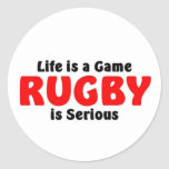 Rugby is serious round stickers