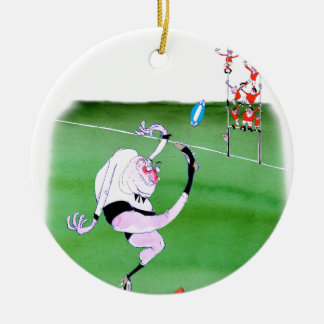 rugby kick, tony fernandes round ceramic decoration