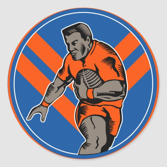 Rugby league player running with ball classic round sticker