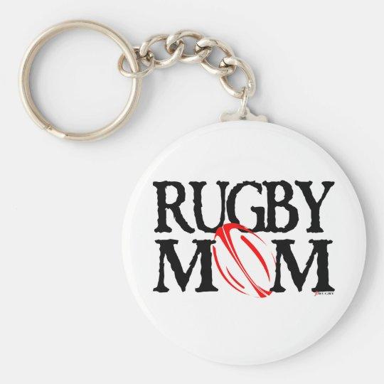 rugby mum basic round button key ring