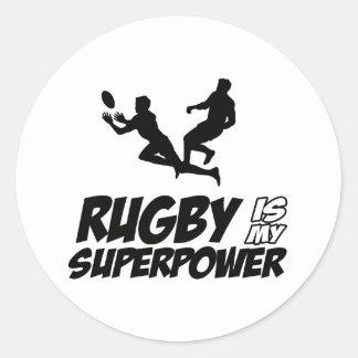 Rugby my super power classic round sticker