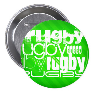 Rugby; Neon Green Stripes 7.5 Cm Round Badge