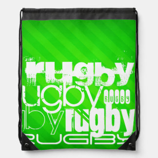 Rugby; Neon Green Stripes Backpack