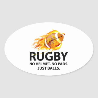 Rugby. No Helmet. No Pads. Just Balls. Oval Sticker