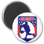 rugby passing front view ball shield fridge magnets