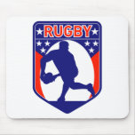 rugby passing front view ball shield mouse pad