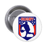 rugby passing front view ball shield pin