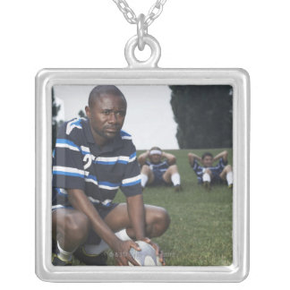 Rugby player 2 silver plated necklace