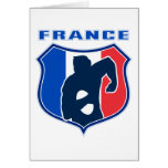 rugby player french france flag shield greeting cards