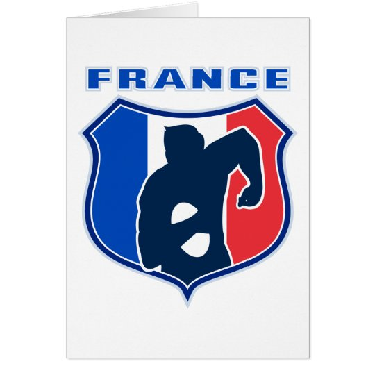 rugby player french france flag shield card