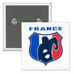 rugby player french france flag shield pin