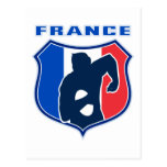 rugby player french france flag shield post cards