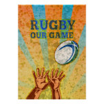 rugby player hands catching ball print
