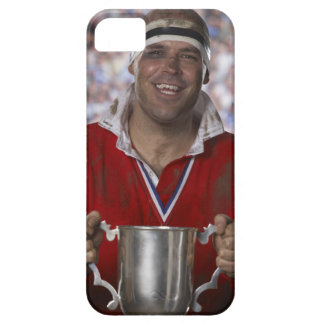 Rugby player holding trophy cup, portrait iPhone 5 case
