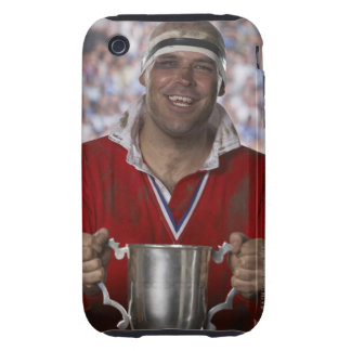 Rugby player holding trophy cup, portrait tough iPhone 3 covers