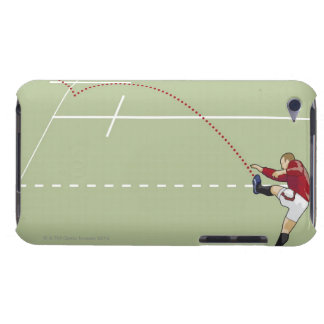 Rugby player kicking ball into touch, dotted barely there iPod case