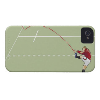 Rugby player kicking ball into touch, dotted iPhone 4 cover