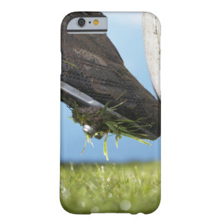 Rugby player kicking ball off tee, close up of barely there iPhone 6 case
