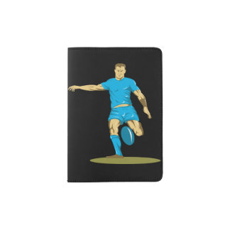 Rugby Player Kicking Passport Holder