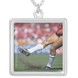 Rugby Player Kicking the Ball Silver Plated Necklace