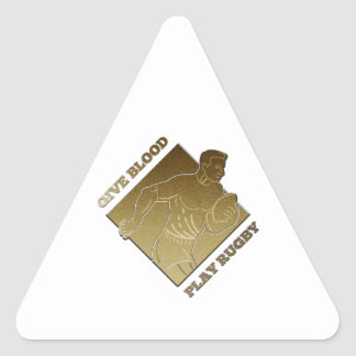 rugby player metallic gold give blood, play rugby triangle sticker
