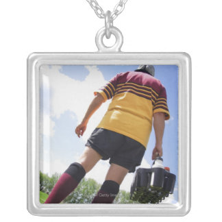 Rugby player on the sideline with refreshments silver plated necklace