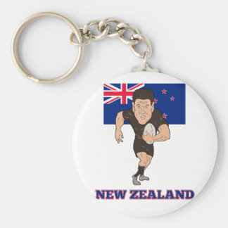 Rugby player running ball New Zealand flag Key Chain
