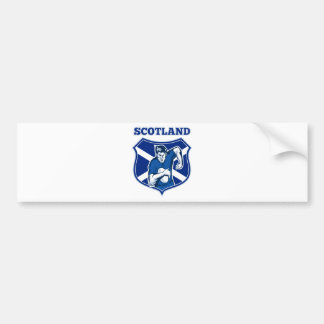 rugby player running ball scotland flag shield bumper sticker