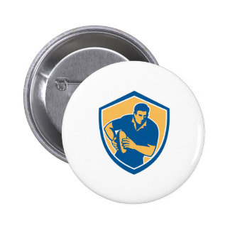 Rugby Player Running Ball Shield Retro Pins