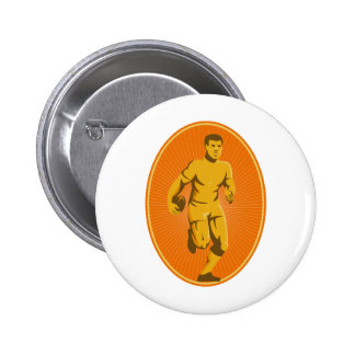 rugby player running passing the ball 6 cm round badge