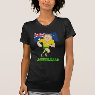 Rugby player running with ball Australia flag Shirts