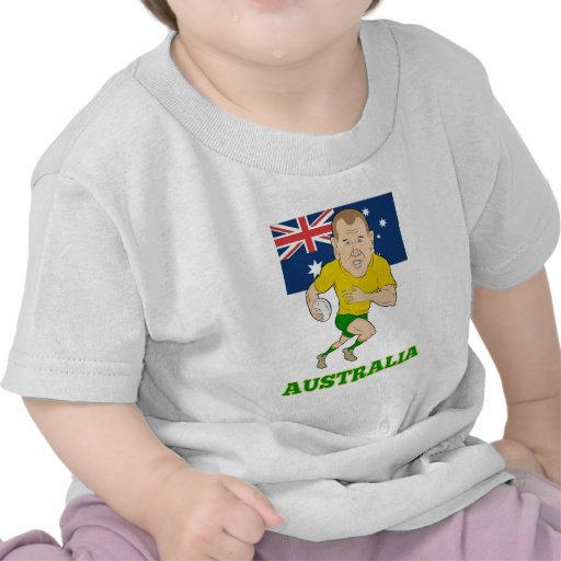 Rugby player running with ball Australia flag T Shirts