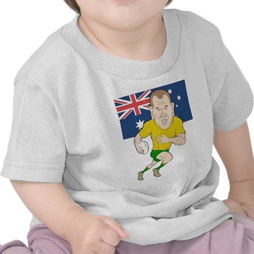 Rugby player running with ball Australia flag Tee Shirts