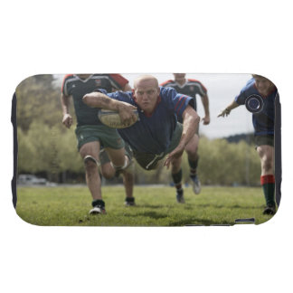 Rugby player scoring jumping on groud with ball iPhone 3 tough case
