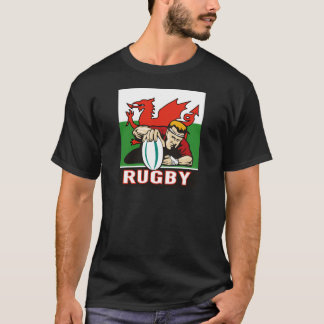 Rugby player scoring try wales flag T-Shirt