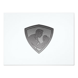 rugby player shield metallic silver invitations