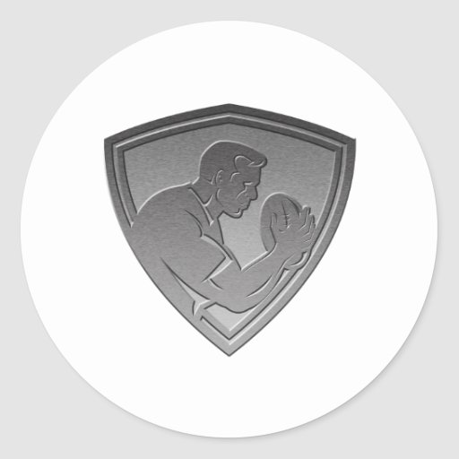 rugby player shield metallic silver stickers