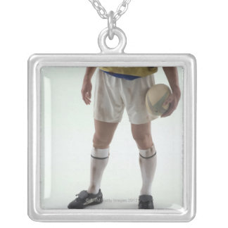 Rugby player silver plated necklace