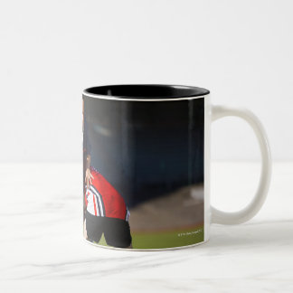 Rugby player tackling another Two-Tone coffee mug