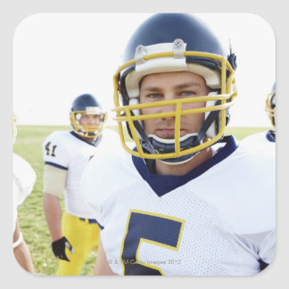 rugby player wearing helmet and standing square sticker