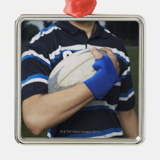Rugby player with ball christmas ornament