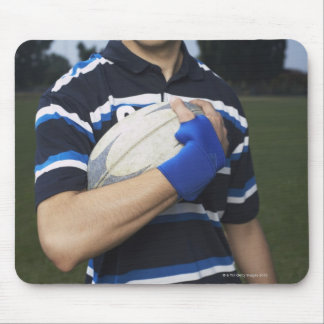 Rugby player with ball mouse mat