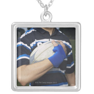 Rugby player with ball silver plated necklace