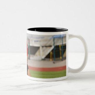 Rugby players fighting for ball coffee mug
