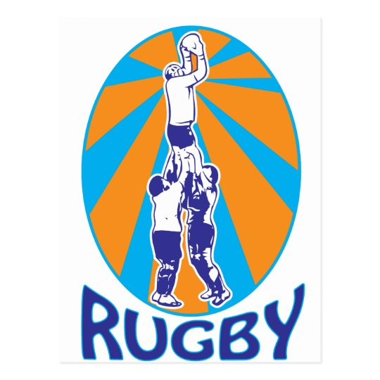 rugby players jumping catching line-out ball retro postcard