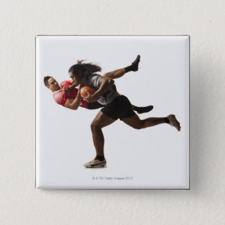 Rugby players tackling for ball 15 cm square badge