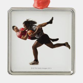 Rugby players tackling for ball Silver-Colored square decoration