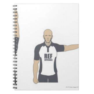 Rugby referee signalling penalty kick, free notebooks