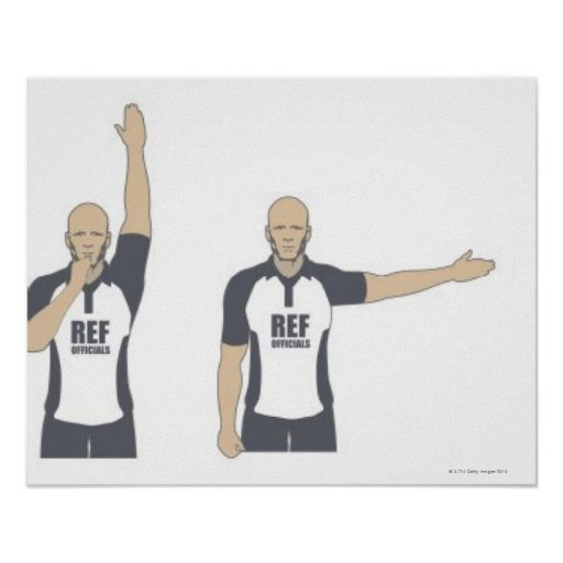 Rugby referee signalling penalty kick, free poster