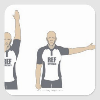 Rugby referee signalling penalty kick, free square sticker